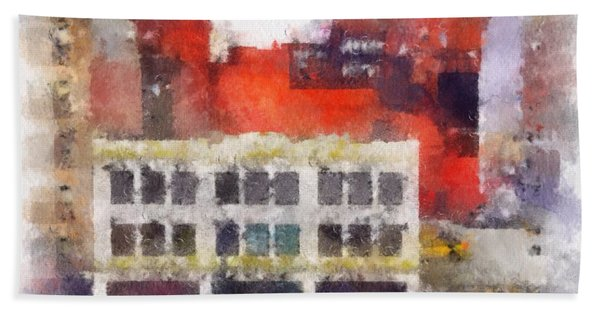 Beach Towel featuring the digital art View From A New York Window by Mark Taylor