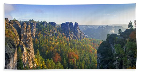 View From The Bastei Bridge In The Saxon Switzerland Beach Towel