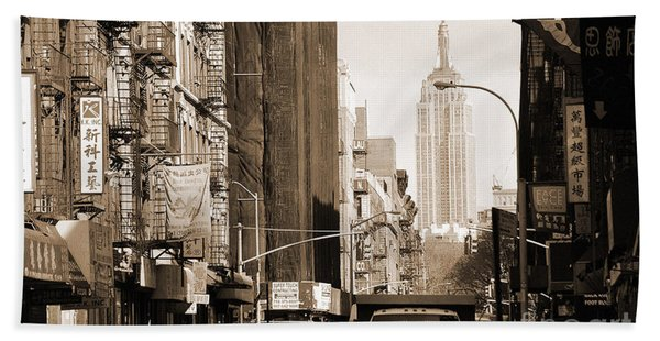 Vintage Chinatown And Empire State Beach Towel