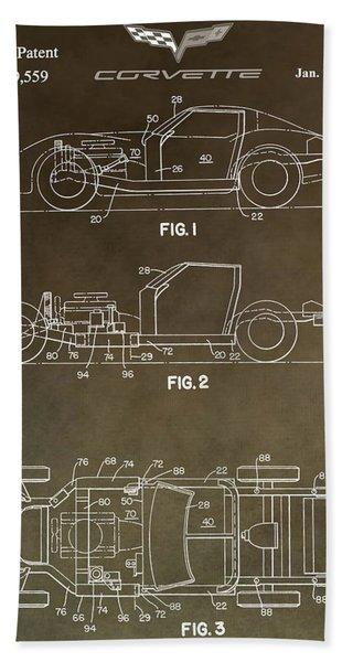 Vintage Corvette Patent Beach Towel
