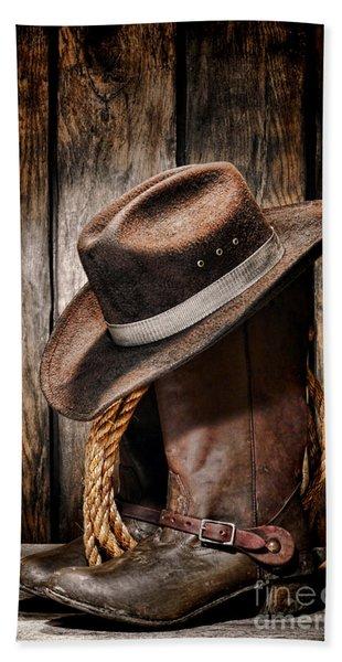 Vintage Cowboy Boots Beach Towel