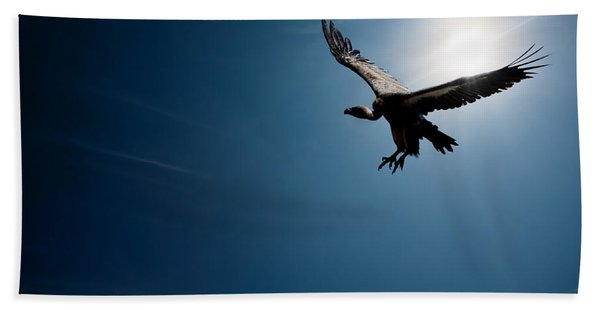 Vulture Flying In Front Of The Sun Beach Towel