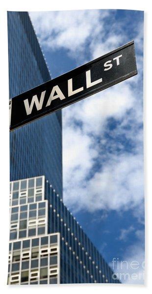 Wall Street Street Sign New York City Beach Towel