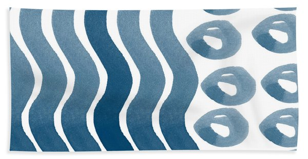 Waves And Pebbles- Abstract Watercolor In Indigo And White Beach Towel
