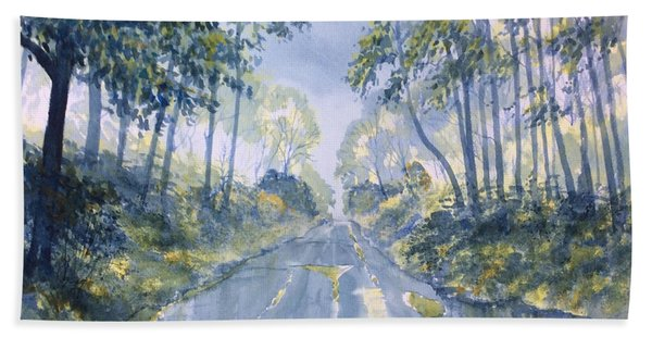 Wet Road In Woldgate Beach Towel