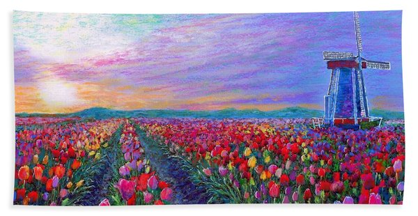 Tulip Fields, What Dreams May Come Beach Towel