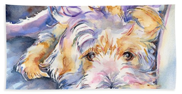 Wheaten Terrier Painting Beach Towel