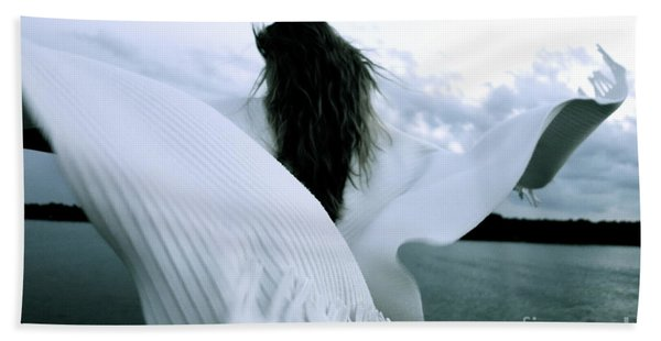 Beach Towel featuring the photograph White Angel by Jacqueline Athmann