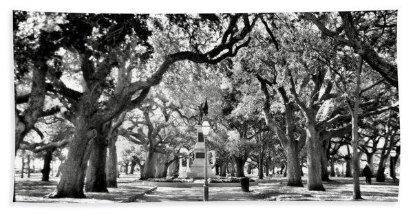 White Point Gardens At Battery Park Charleston Sc Black And White Beach Towel