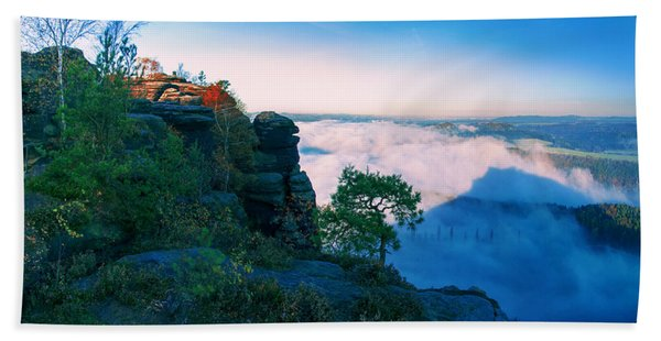 White Wafts Of Mist Around The Lilienstein Beach Towel