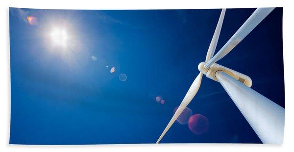 Wind Turbine And Sun  Beach Towel
