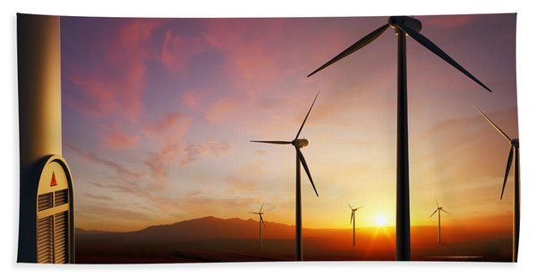 Wind Turbines At Sunset Beach Towel