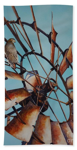 Windmill And Hawk Beach Towel