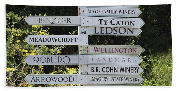 Winery Street Sign In The Sonoma California Wine Country 5d24601 Square Beach Towel