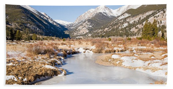 Winter At Horseshoe Park In Rocky Mountain National Park Beach Towel
