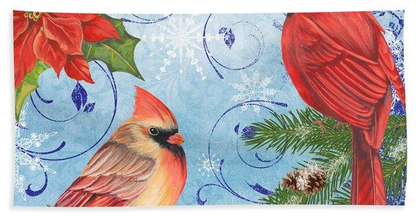 Winter Blue Cardinals-joy Beach Towel