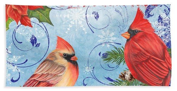 Winter Blue Cardinals-merry Christmas Beach Towel