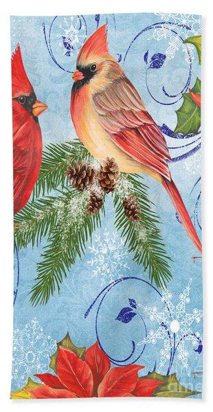 Winter Blue Cardinals-peace Card Beach Towel