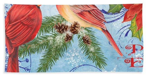 Winter Blue Cardinals-peace Beach Towel