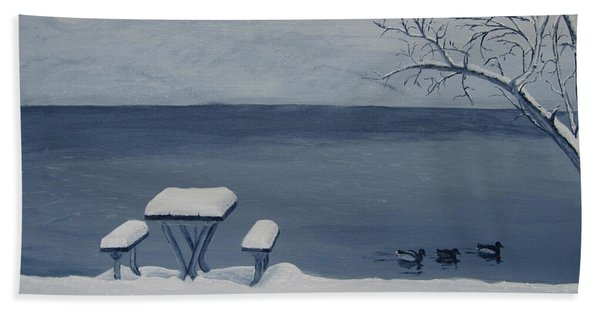 Winter By The Lake Beach Sheet