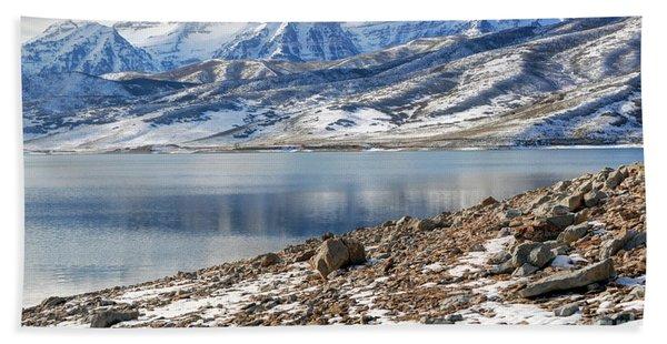 Winter Mt. Timpanogos And Deer Creek Reservoir Beach Towel