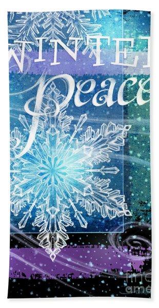 Winter Peace Greeting Beach Sheet