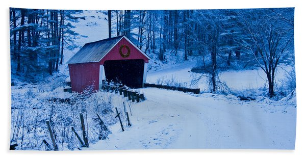 Beach Towel featuring the photograph winter Vermont covered bridge by Jeff Folger