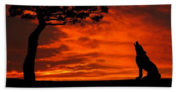 Wolf Calling For Mate Sunset Silhouette Series Beach Sheet