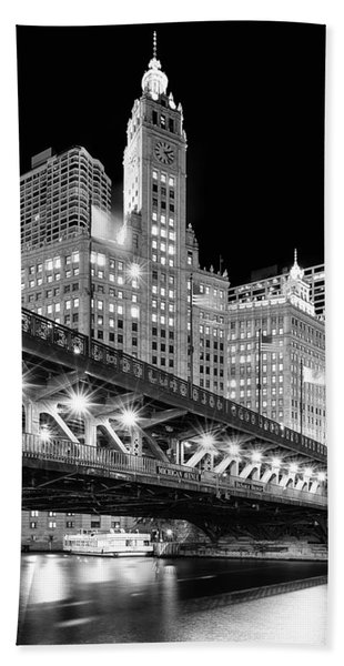 Wrigley Building At Night In Black And White Beach Towel