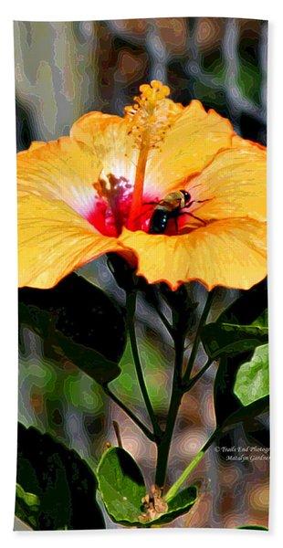 Yellow Bumble Bee Flower Beach Towel