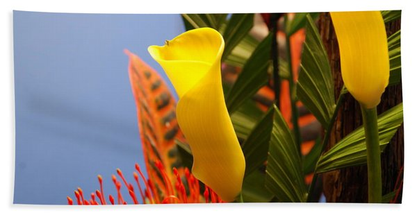 Yellow Calla Lilies Beach Towel