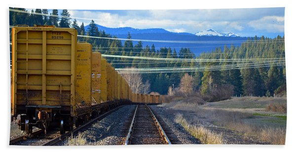 Yellow Train To The Mountains Beach Towel