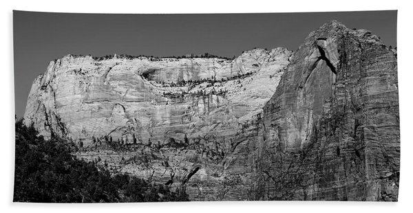 Beach Towel featuring the photograph Zion Cliff And Arch B W by Jemmy Archer