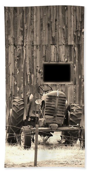 Tractor And The Barn Beach Towel