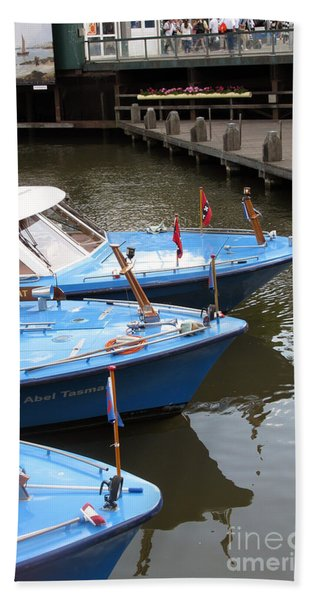 Boats In Amsterdam. Holland Beach Towel