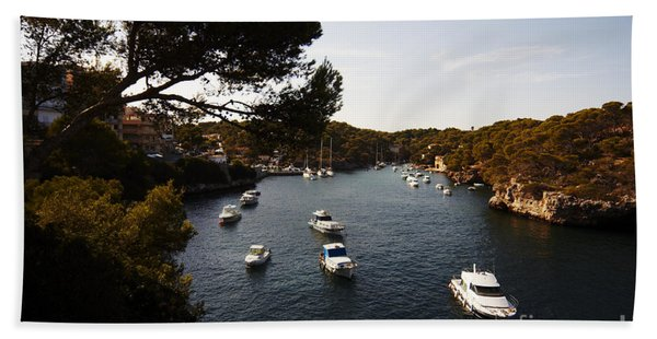 Boats In Cala Figuera Beach Towel