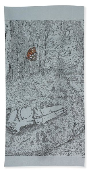 Canine Skull And Butterfly Beach Towel