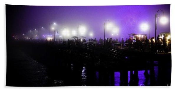 Cool Night At Santa Monica Pier Beach Towel
