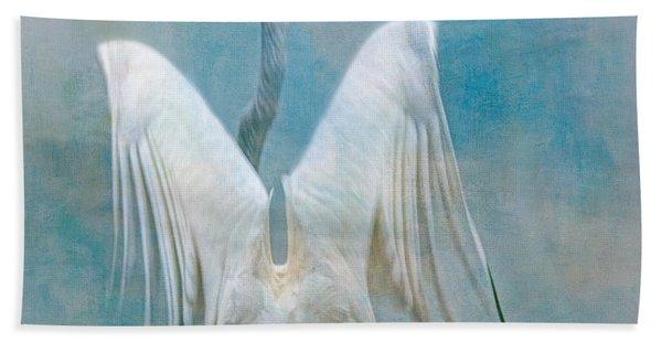 Egret Preparing To Launch Beach Towel