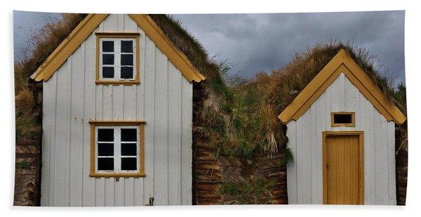 Icelandic Turf Houses Beach Towel
