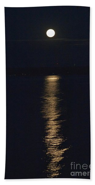 Moon Over Seneca Lake Beach Towel