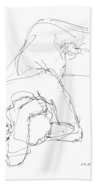 Nude Male Drawings 7 Beach Towel