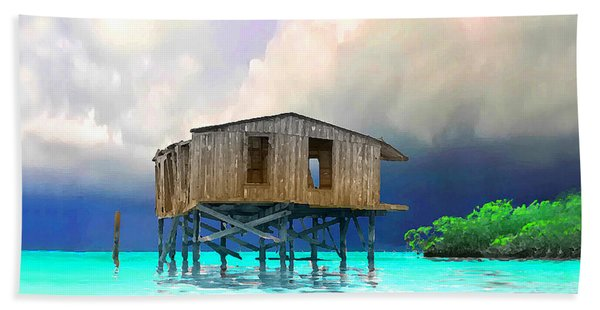 Old House Near The Storm Filtered Beach Sheet