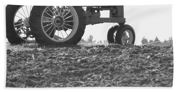 Old Tractor II In Black-and-white Beach Towel