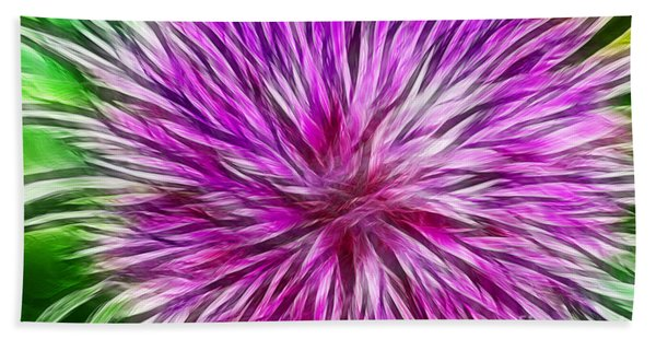 Purple Flower Fractal Beach Towel