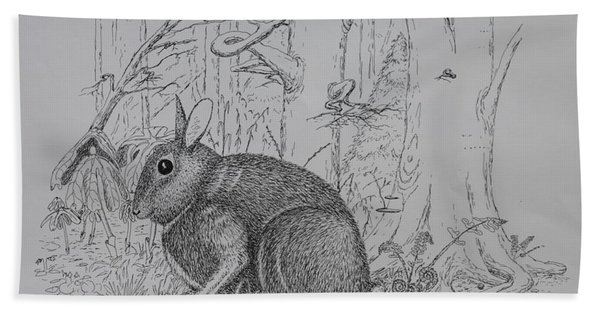Rabbit In Woodland Beach Towel
