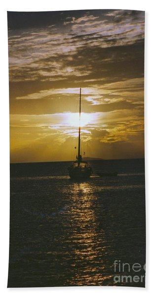 Sailing Sunset Beach Towel