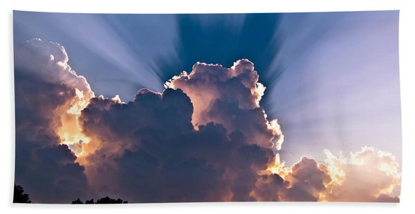 Sun Rays And Clouds Beach Sheet