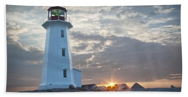 Sunrise At Peggys Cove Lighthouse In Nova Scotia Number 041 Beach Sheet