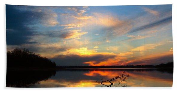 Sunset Over Calm Lake Beach Sheet